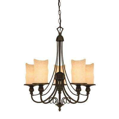 5-Light Burnished Bronze Patina Interior Chandelier with Burnt Scavo Glass