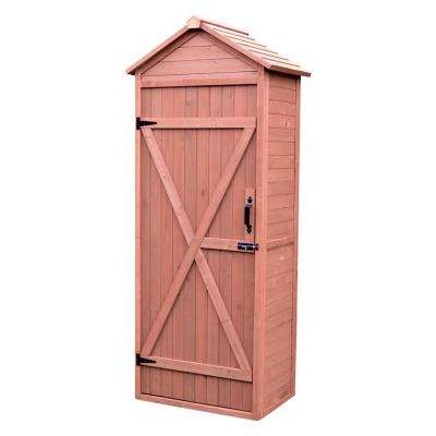 32 in. W x 22 in. D x 76 in. H Medium Brown Cypress Vertical Shed with Drop Table