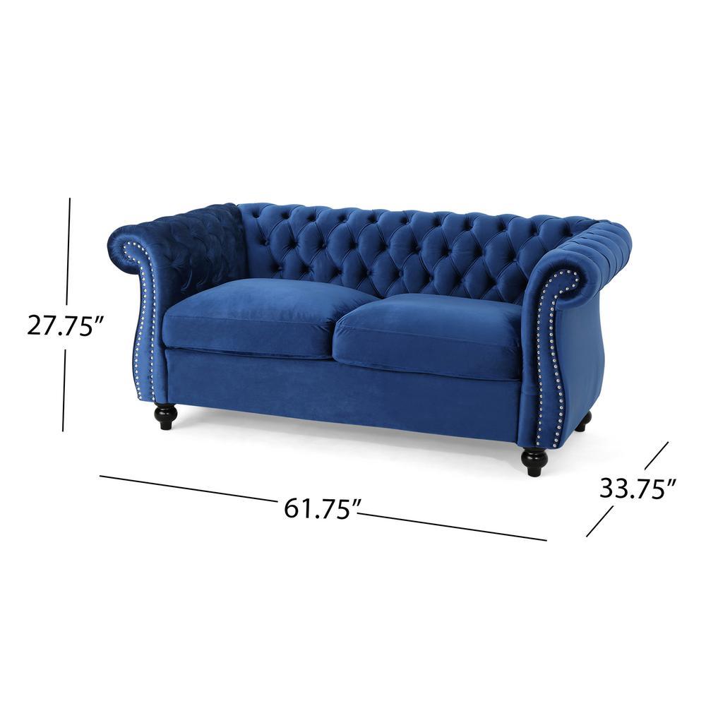 Admirable Noble House Somerville Traditional Tufted Navy Blue Velvet Ncnpc Chair Design For Home Ncnpcorg