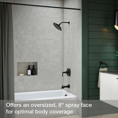 Bellerose 3-Spray Patterns 1.75 GPM 8 in. Wall Mount Fixed Shower Head in Matte Black