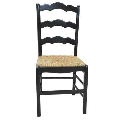 Florence Antique Black Wood Ladder Back Chair