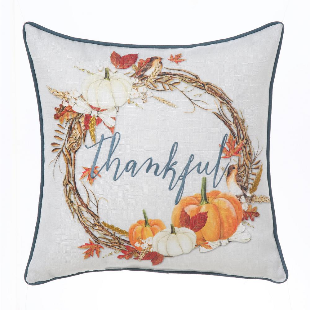 Home Accents Holiday. Harvest Wreath White/Orange Decorative Pillow