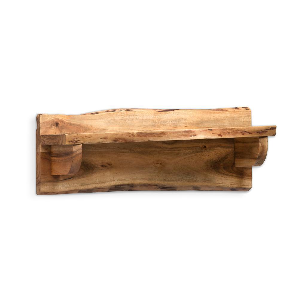 Alpine Live Edge 24 in. W x 8 in. D Natural Wood Mantel Shelf