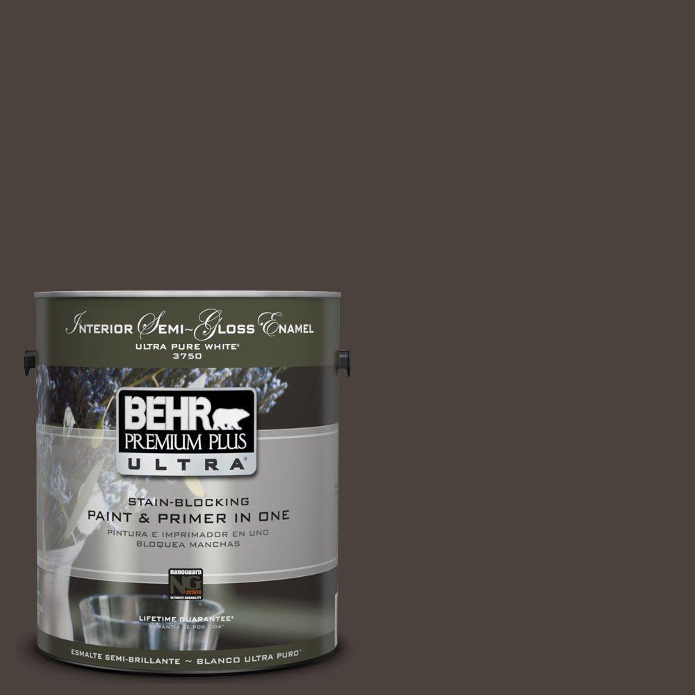 BEHR Premium Plus Ultra 1-gal. #UL160-23 Espresso Beans Interior Semi-Gloss Enamel Paint