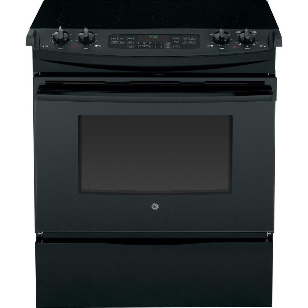 GE 4.4 cu. ft. Slide-In Electric Range with Self-Cleaning Convection Oven in Black