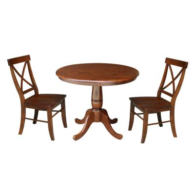 3-Piece Set, Espresso Solid Wood 36 in. Round Dining Table and 2X Back Chairs