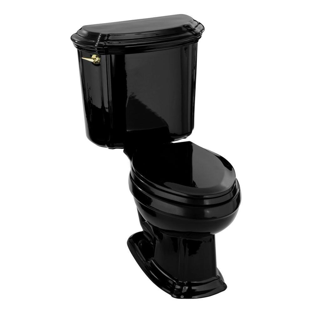 KOHLER Portrait 2-Piece 1.6 GPE Single Flush Elongated Toilet in Black
