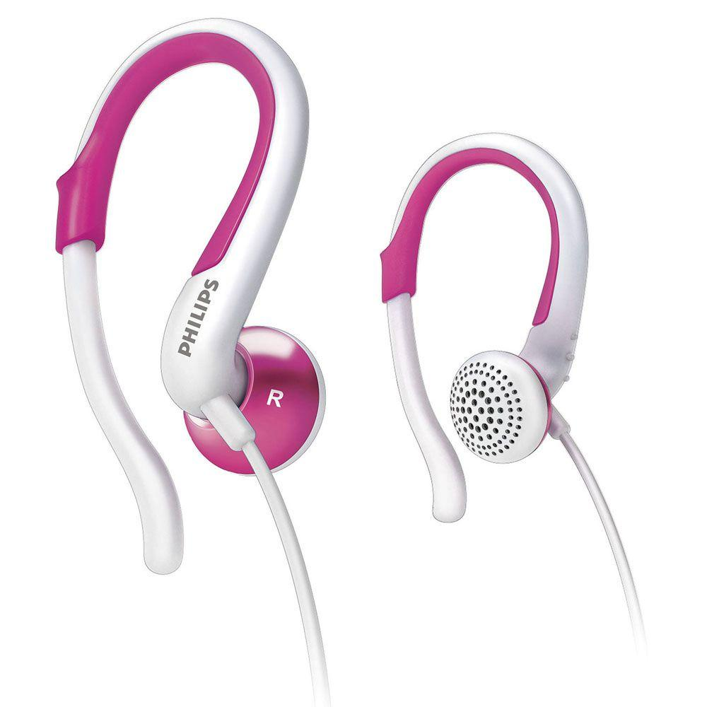 Philips Extra Comfortable Earhook Headphones - White/Pink-DISCONTINUED
