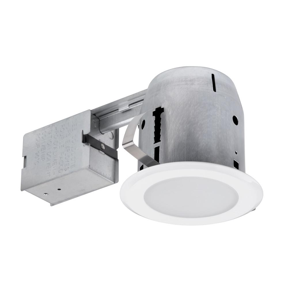 Globe Electric 5 In White Led Ic Rated Shower Lens Recessed Lighting Kit Dimmable Downlight With Frost