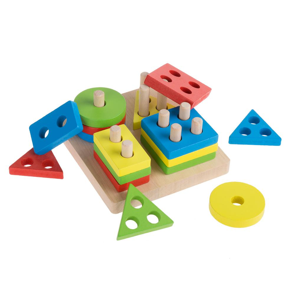 Wooden Geometric Sorting and Stacking Blocks