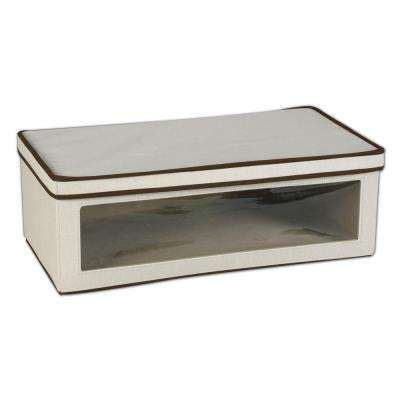 24.25 in. x 13.25 in. Natural Canvas Large Vision Storage Box with Liner and Brown Trim
