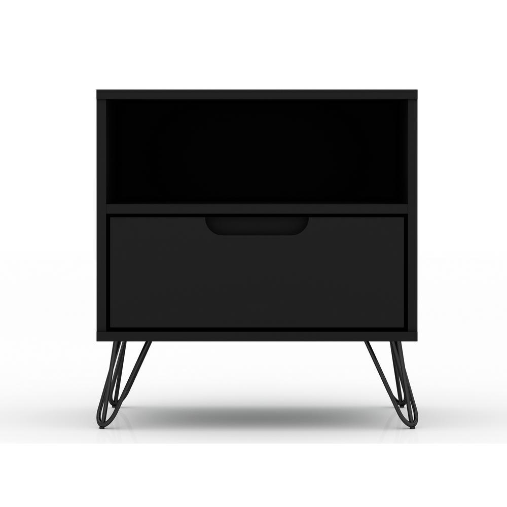 Luxor Intrepid 1.0 1-Drawer Black Mid-Century Modern Nightstand 101HD2