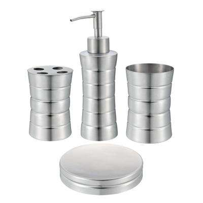 4piece stainless steel bath accessory set in matte