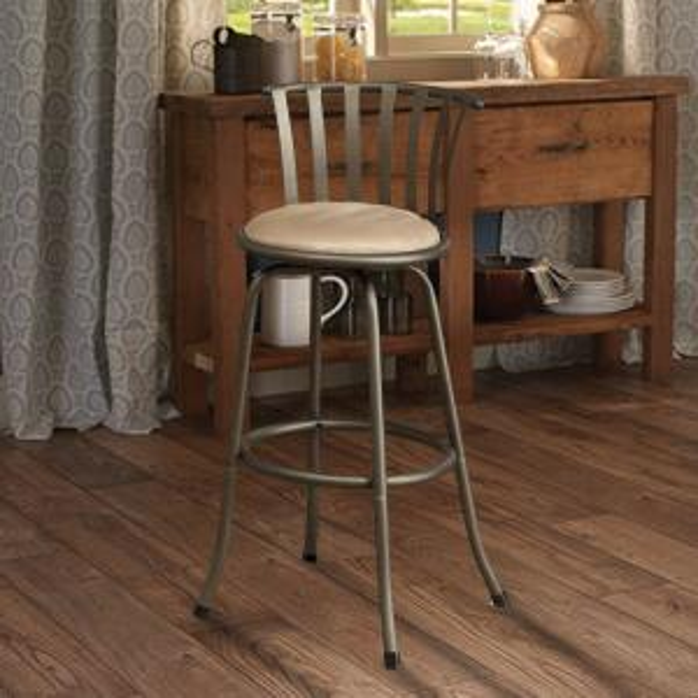 Stupendous Benjara Stunning Metal And Microfiber Gold Cushion Swivel Dailytribune Chair Design For Home Dailytribuneorg