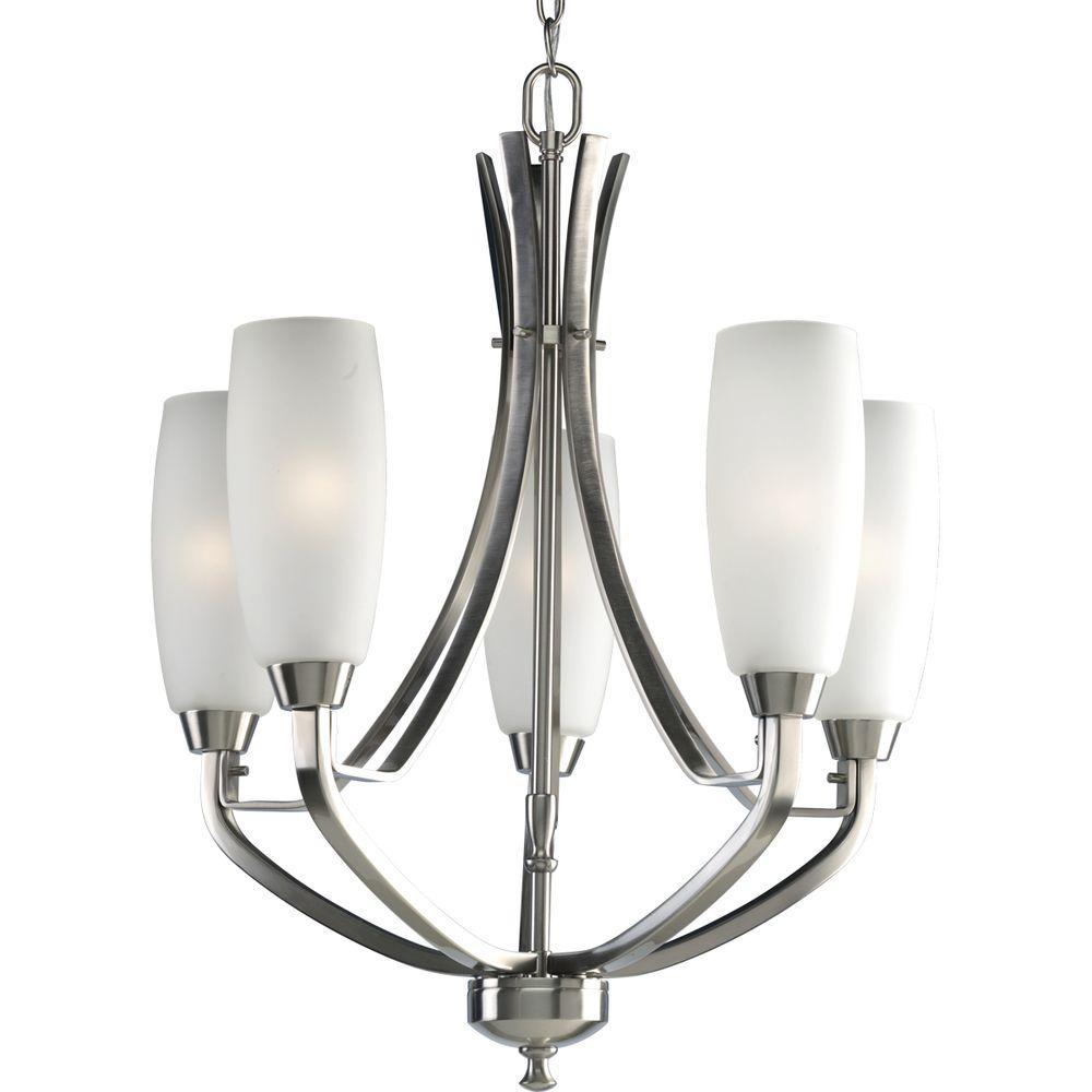 Progress Lighting Wisten Collection 5-Light Brushed Nickel Chandelier with Shade