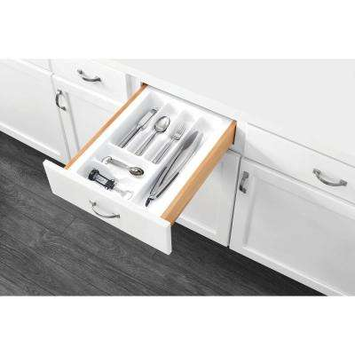 2.375 in. H x 14.25 in. W x 21.25 in. D Medium White Cutlery Tray Drawer Insert