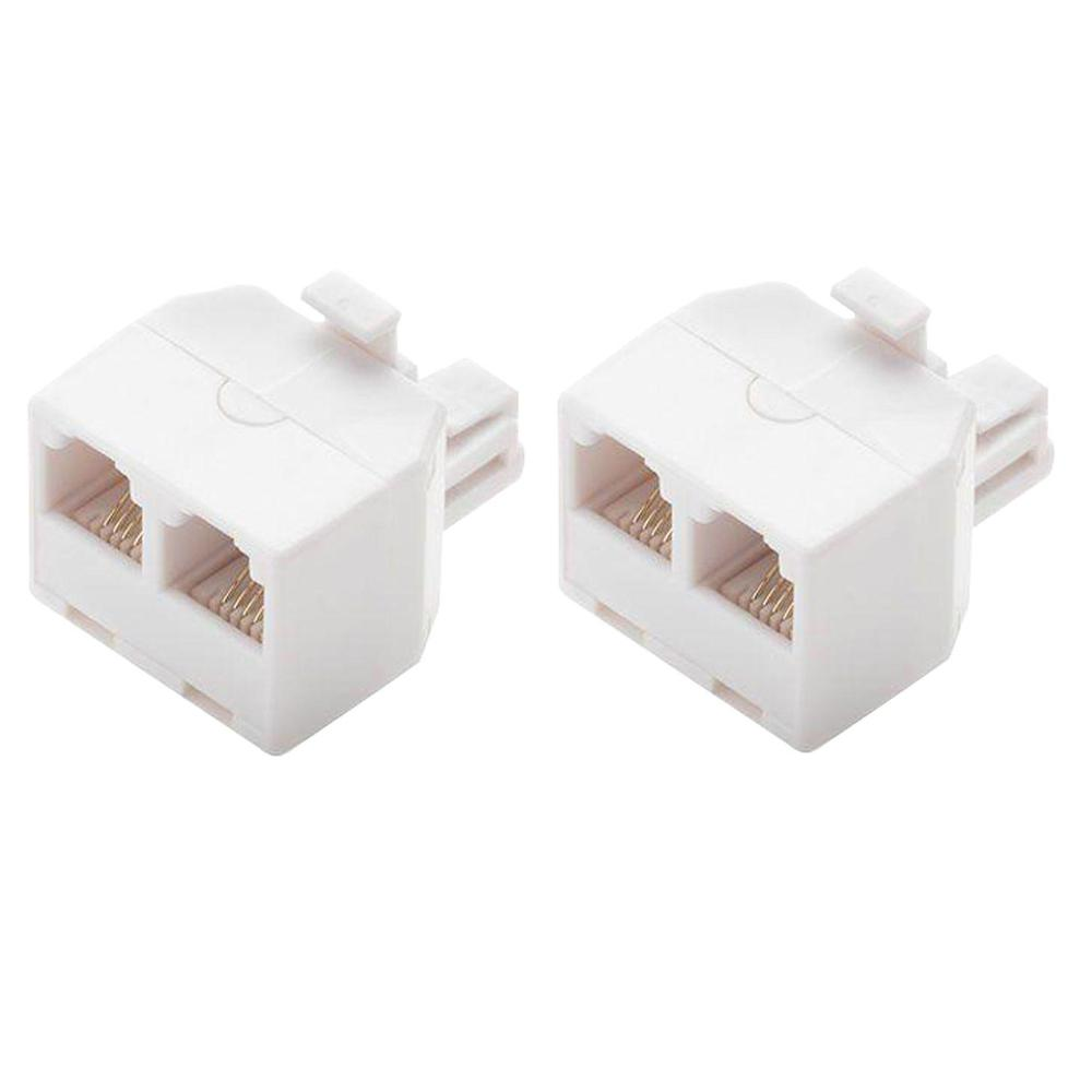 2-Way Telephone Splitter, White (2-Pack)