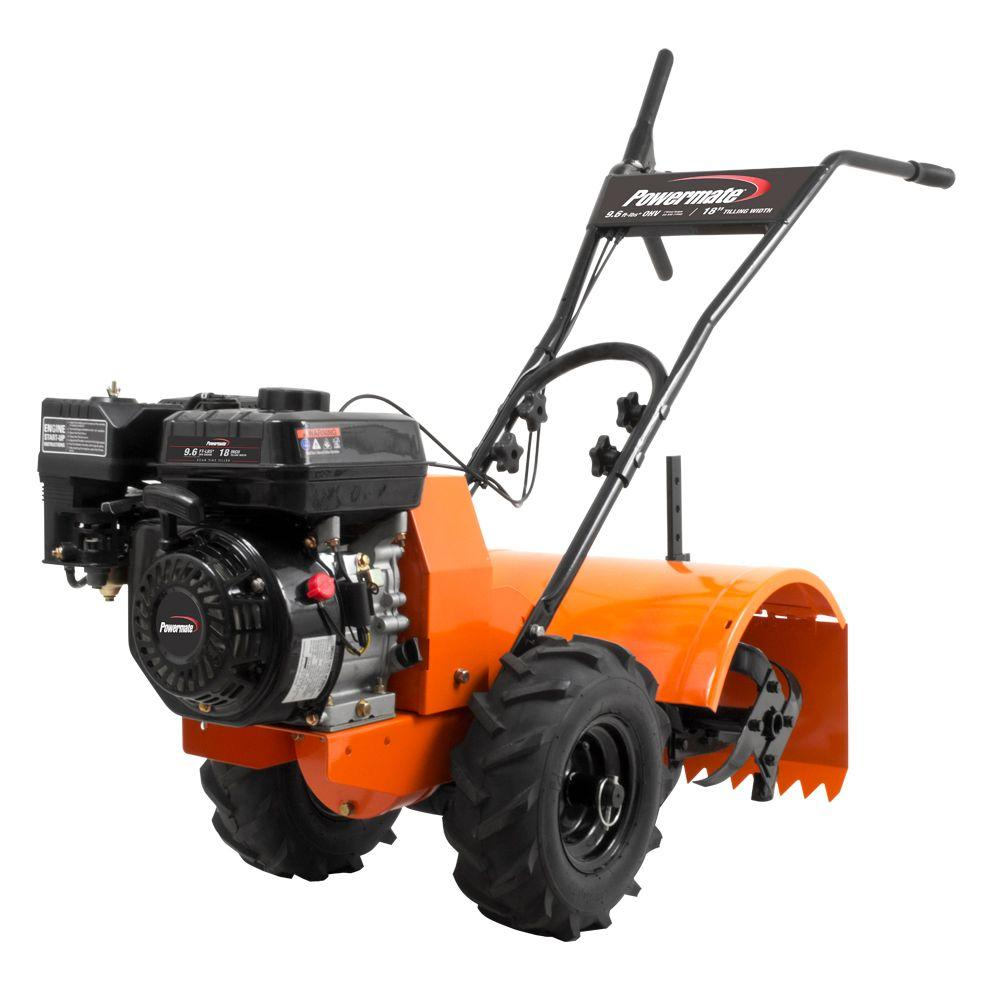 Powermate 18 in. 196cc 4-Cycle Rear-Tine Counter Rotating Gas Powered Tiller - California Only