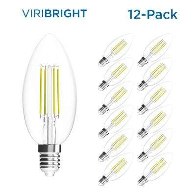 35-Watt Equivalent B10 Dimmable E12 Candelabra Base LED Light Bulb Warm White (12-Pack)