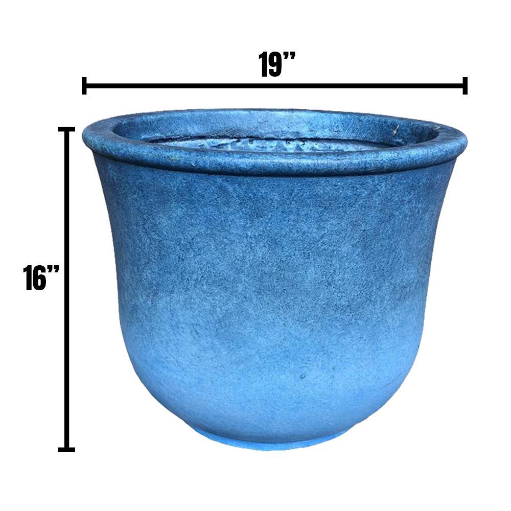 DurX-litecrete 18.9 in. x 15.75 in. H Blue Lightweight Concrete Vibrant Ombre Tulip Large Planter