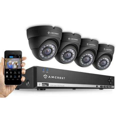 960H 4-Channel Video Security Kit - 4 x 800TVL Dome Outdoor Cameras, 500GB HD (Upgradable)