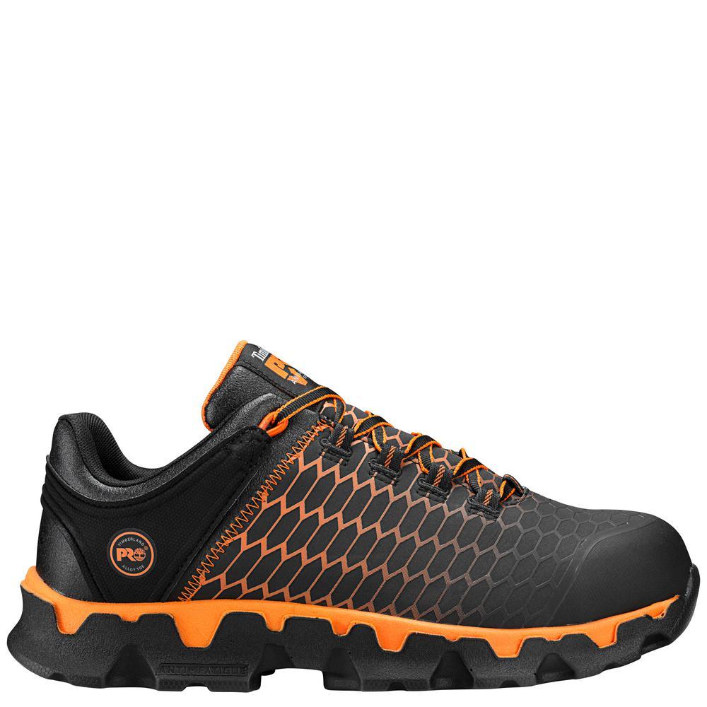Men's Work Shoe Sneaker Low Top Powertrain Sport Black & Orange Alloy Safety Toe Athletic Size 8.5M