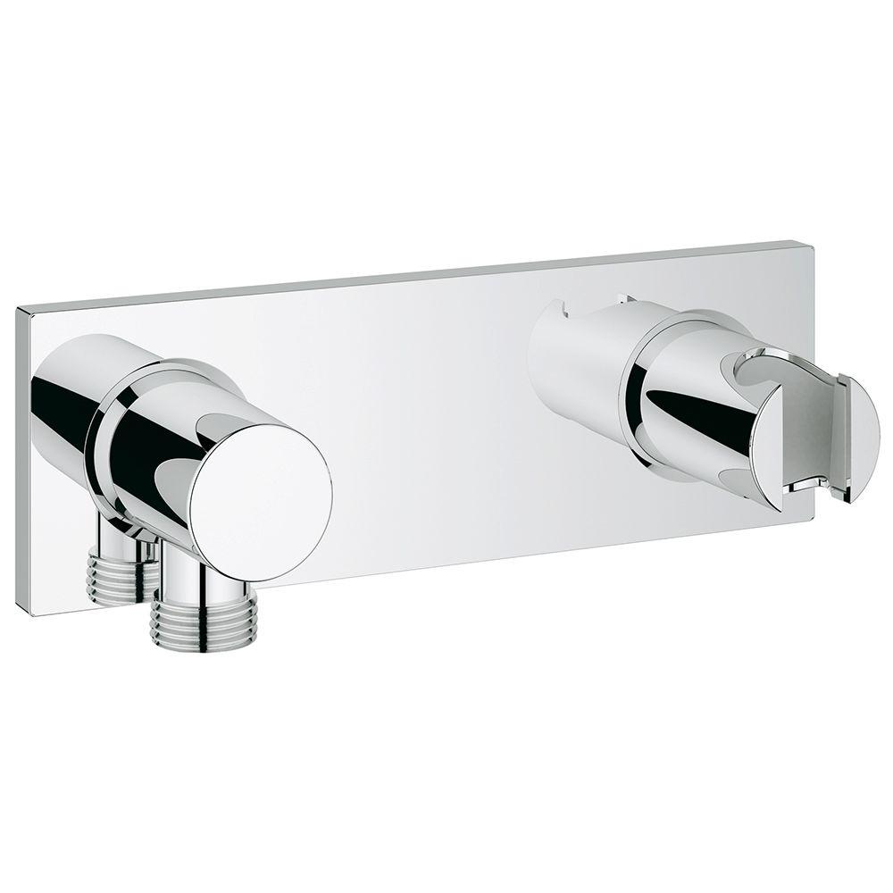 GROHE Grohtherm F Wall Mount Union With Integrated Hand Shower Holder In  StarLight Chrome