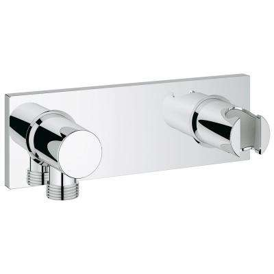 Grohtherm F Wall-Mount Union with Integrated Handheld Shower Holder in StarLight Chrome