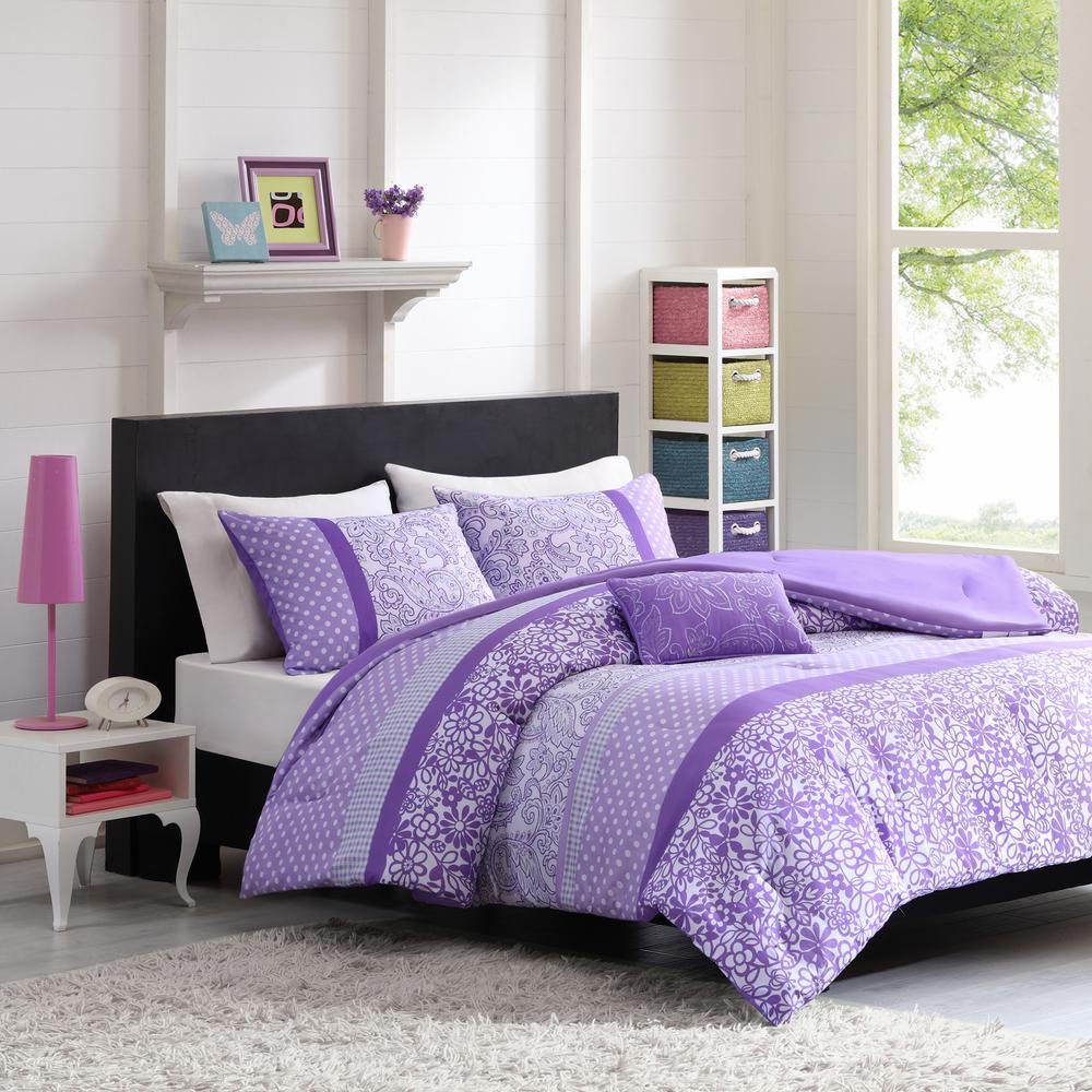 Sadie 4 piece purple full queen print comforter set