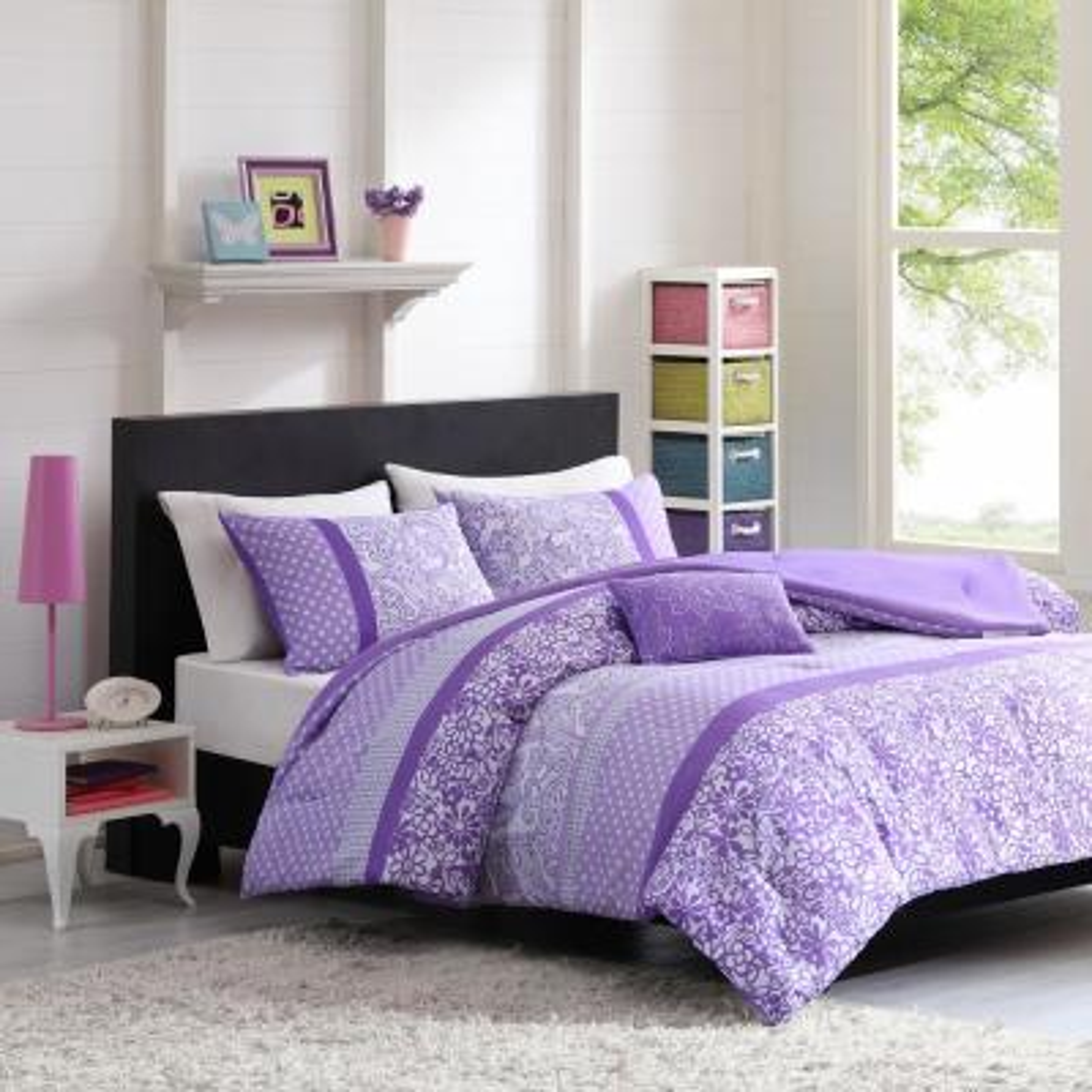 Sadie 4-Piece Purple Full/Queen Comforter Set