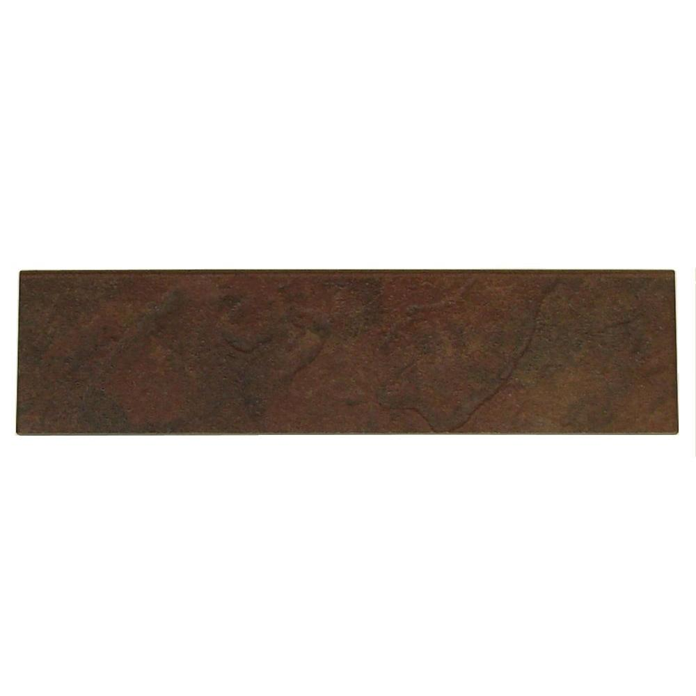 Daltile Continental Slate Indian Red 3 in. x 12 in. Porcelain Bullnose Floor and Wall Tile