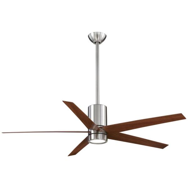 Symbio 56 in. Integrated LED Indoor Brushed Nickel with Dark Walnut Ceiling Fan with Light with Remote Control