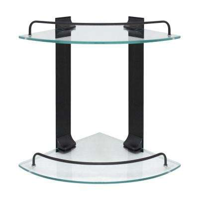 9.5 in. W Double Glass Corner Shelf with Pre-Installed Rails in Rubbed Bronze