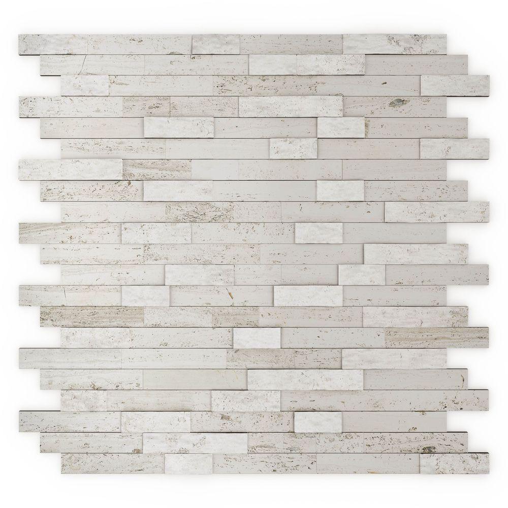Himalayan White 11.77 in. x 11.57 in. x 8mm Stone Self-Adhesive Wall Mosaic Tile