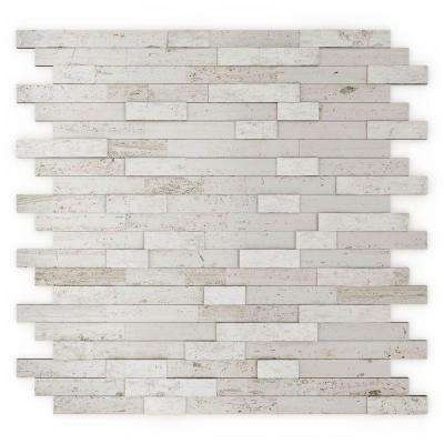 Himalayan White 11.77 in. x 11.57 in. x 8mm Stone Self-Adhesive Wall Mosaic Tile