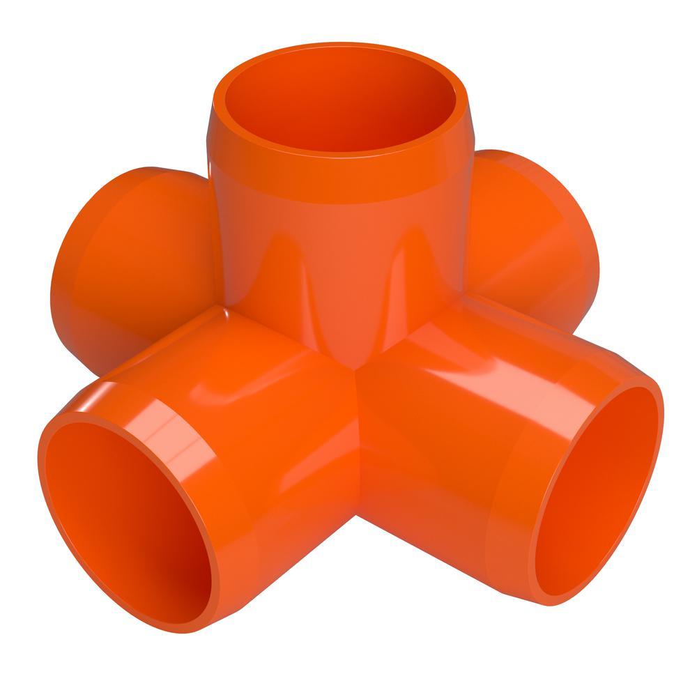 1 in. Furniture Grade PVC 5-Way Cross in Orange (4-Pack)