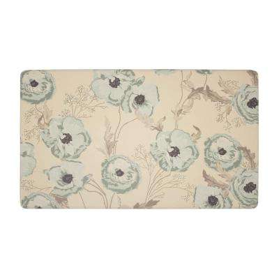 Poppy Meadow Primrose Duck Egg 20 in. x 32 in. PVC Anti-Fatigue Comfort Kitchen Mat