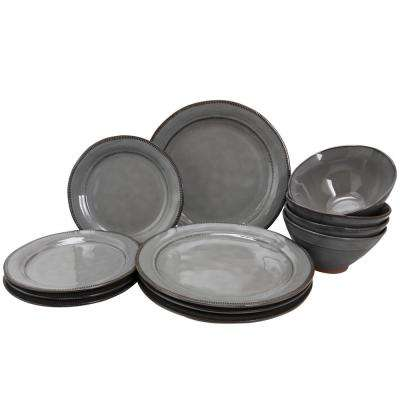 Terranea 12-Piece Grey Dinnerware Set
