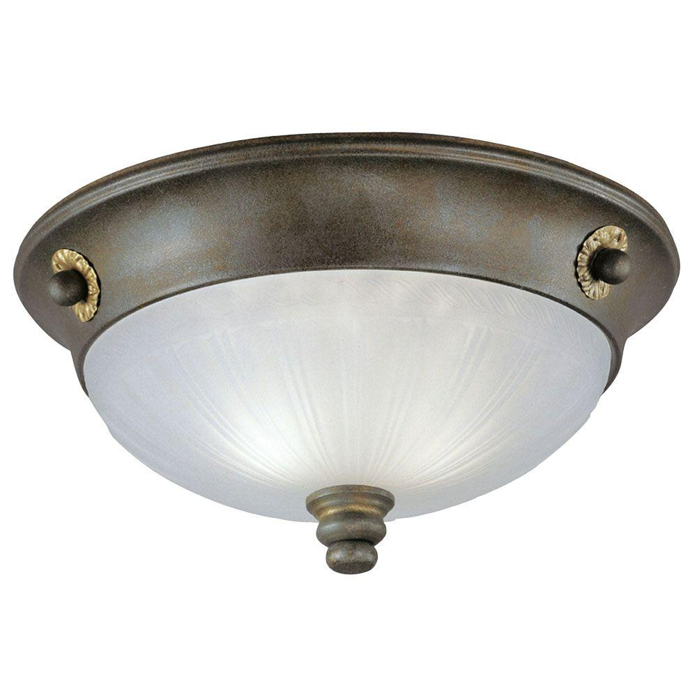 Westinghouse 2-Light Ceiling Fixture Excavated Bronze Interior Flush-Mount with Frosted Rope and Reed Design Glass