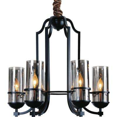Vanna 6-Light Black Chandelier with Clear shade