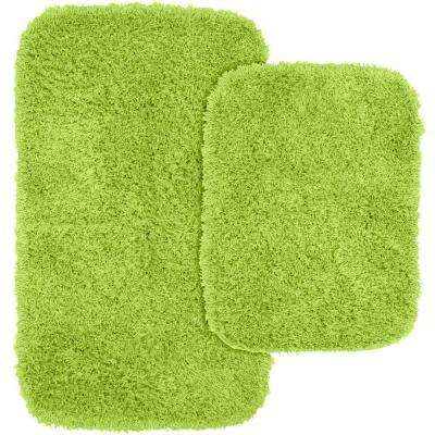 Jazz Lime Green 21 in. x 34 in. Washable Bathroom 2-Piece Rug Set