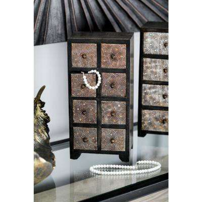 Dark Brown Vertical Rectangular Jewelry Chest with 8-Drawers