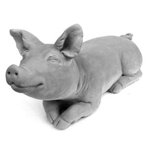 Cast Stone Brother Pig Garden Statue Antique Gray by
