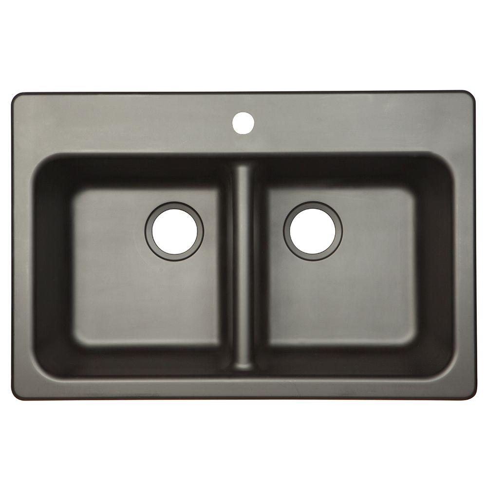 Franke Dual Mount Composite Granite 33x22x8 1 Hole Double Bowl Kitchen Sink  In Onyx FPO3322 1   The Home Depot