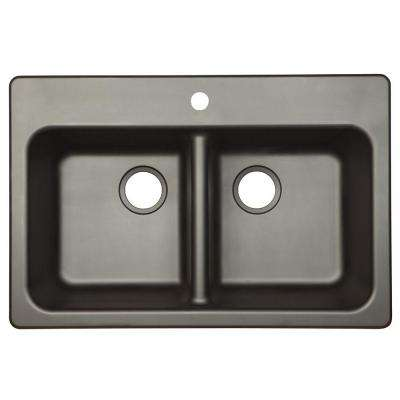 Dual Mount Composite Granite 33x22x8 1 Hole Double Bowl Kitchen Sink In Onyx