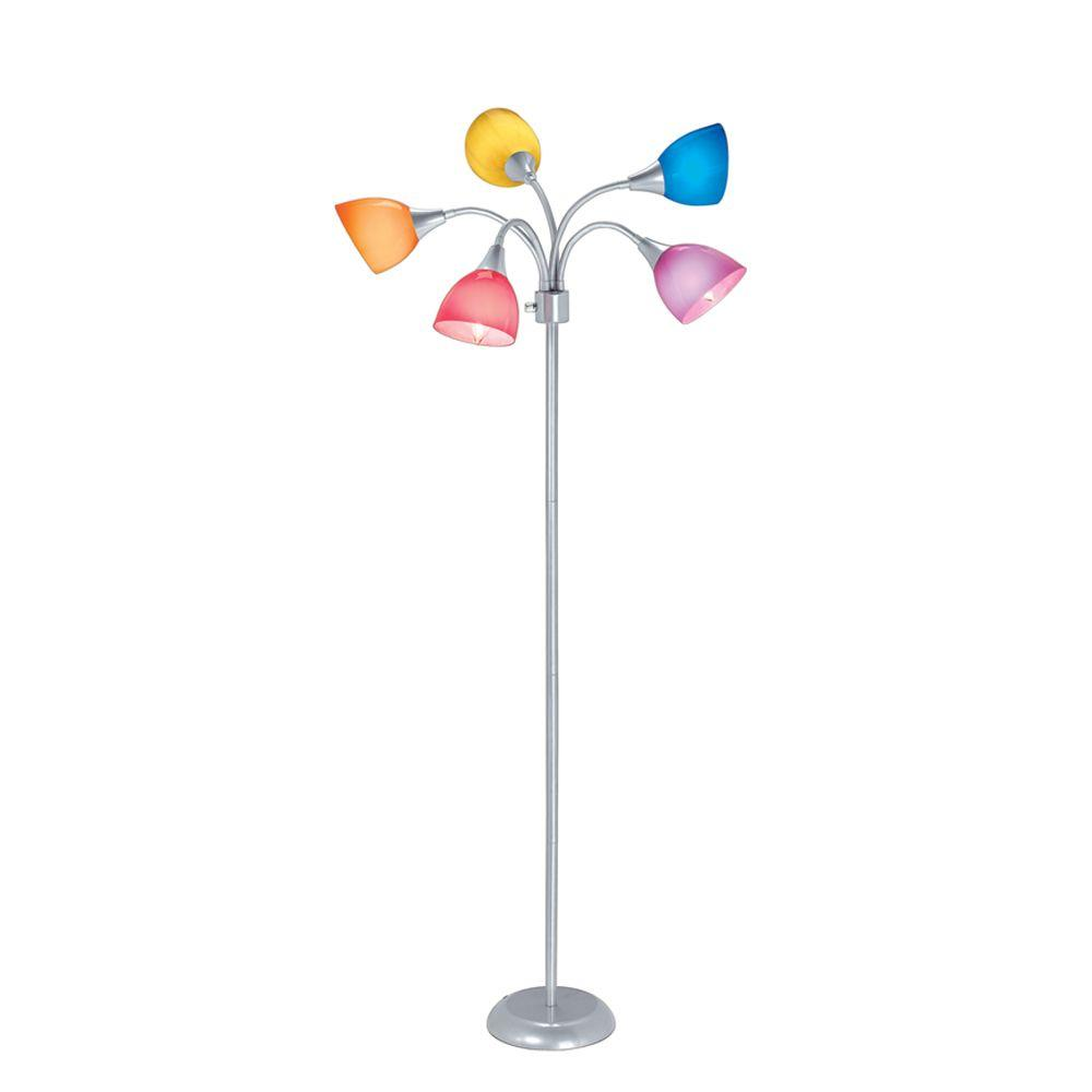 Hampton bay 67 in 5 arm silver floor lamp with 5 plastic for Hampton bay floor shelf lamp
