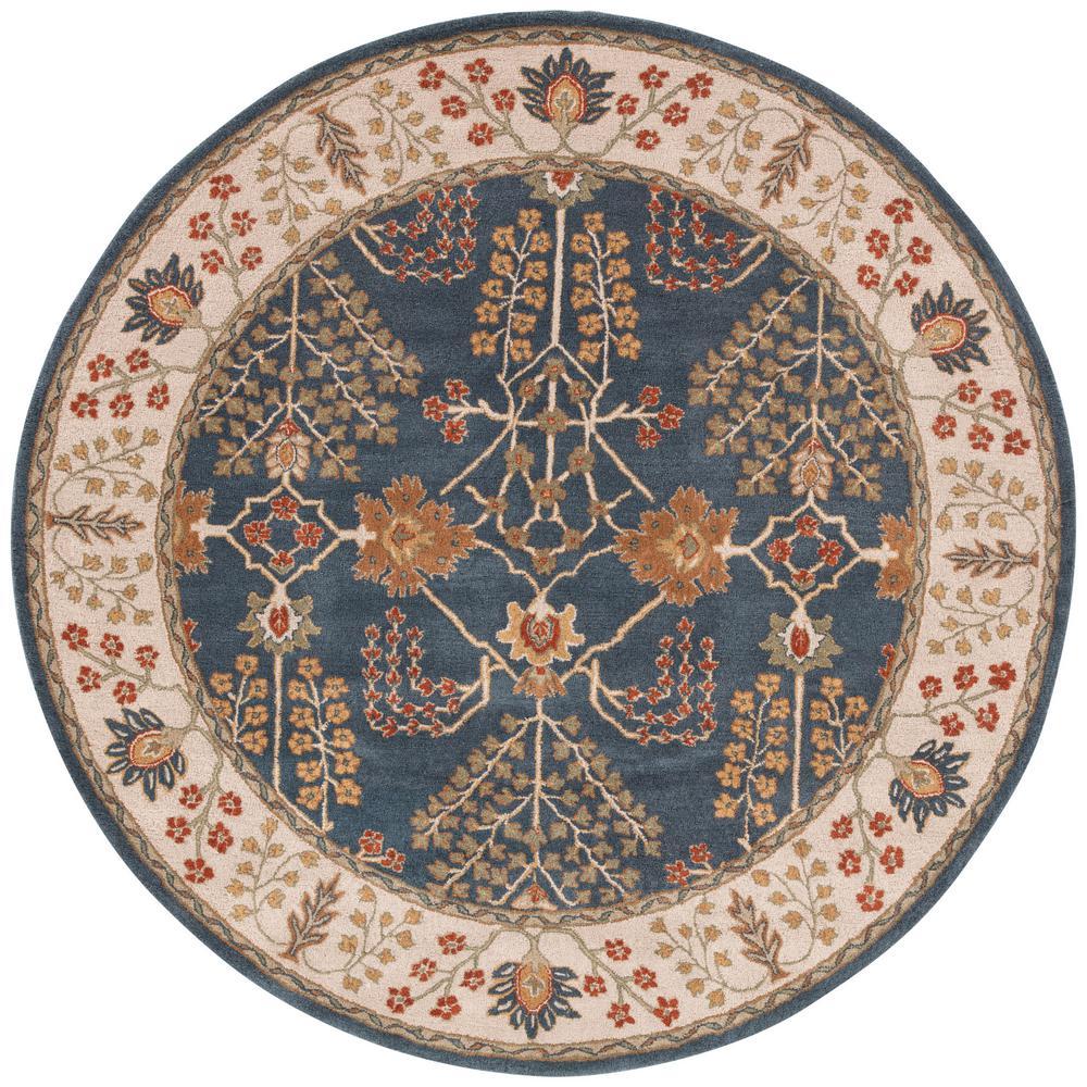 Dark Blue 8 ft. x 8 ft. Oriental Round Area Rug
