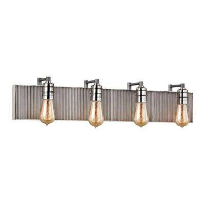 Corrugated Steel 4-Light Weathered Zinc and Polished Nickel Vanity Light