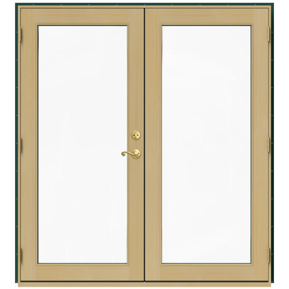 Jeld Wen 71 5 In X 79 5 In W 2500 Hartford Green Right Hand Inswing French Wood Patio Door