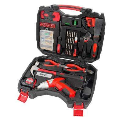 Household Tool Kit with 4.8-Volt Cordless Screwdriver (160-Piece)